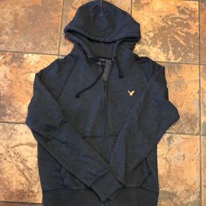 American Eagle blue zip up hoodie